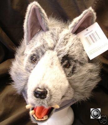 GRAY Big Bad Wolf HAT plush grey HALLOWEEN COSTUME mask ski cap little red riding hood animal head