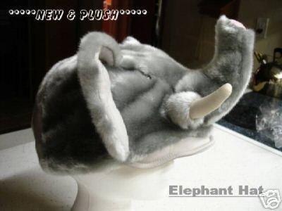 ELEPHANT HAT animal Halloween COSTUME baseball cap Plush Fake Fur ADULT SIZE TUSKS gray mask head