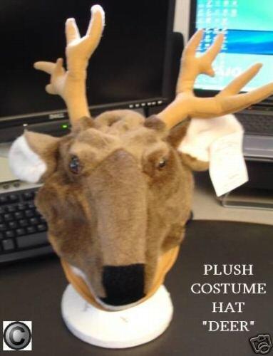 DEER HAT Cap HALLOWEEN COSTUME Reindeer BUCK doe FLOPPY Antlers BAMBI Hunting Decoy Mens UNISEX