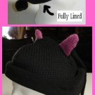 Black Cat Woman KNIT ski cap Halloween COSTUME  Kitty Wool LINED Soft kitten warm winter beanie