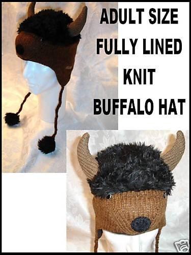 BUFFALO HAT knit Halloween costume black FLC LINED horns bulls bills BUFFALOES New York animal cap