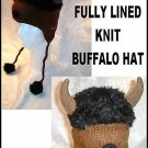 BUFFALO HAT knit Halloween costume black FLC LINED horns bulls bills BUFFALOES New York animal cap