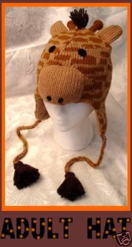 Knit GIRAFFE HAT adult size Warm winter SKI CAP Halloween Costume toque soft warm ski cap delux
