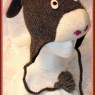 deLux knitwits DONKEY HAT mule ski cap CABLE KNIT Fleece Lined COSTUME Adult SIZE Ears Men Women