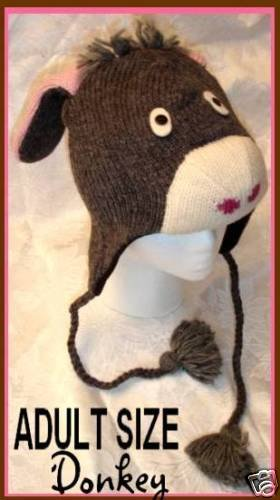 DONKEY HAT mule ski cap CABLE KNIT Fleece Lined HALLOWEEN COSTUME Adult SIZE Ears Men Women