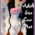 COW HAT holstein KNIT SKI CAP Adult FLEECE LINED - HALLOWEEN cow COSTUME MENS WOMENS delux knitwits