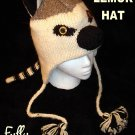 ADULT LEMUR HAT ring TAIL striped tailed EXOTIC CAT cable knit ski cap HALLOWEEN COSTUME