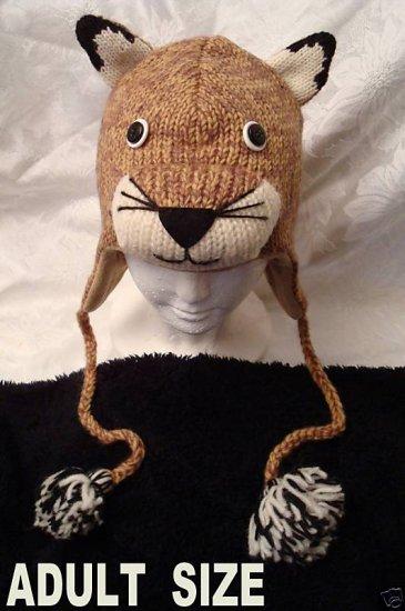 deLux MOUNTAIN LION HAT Cougar PUMA wildcat costume knit ski cap Animal wild cat