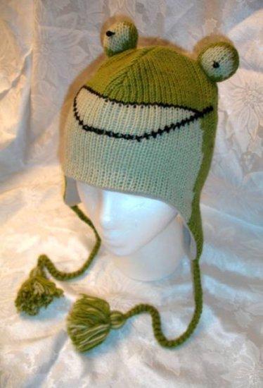 FROG HAT ski cap Animal MENS WOMENS warm winter Halloween Costume Hand KNIT beanie LINED toque