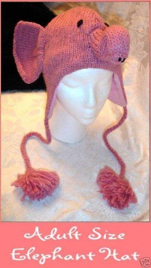 ADULT PINK ELEPHANT Hat KNIT SKI CAP animal Halloween costume Braided Tail Pink Tassels