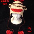SOCK MONKEY HAT Adult size Fleece Lined Knit ski cap Warm SLEEPY snowboarder beanie  COSTUME