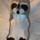 deLux RACCOON HAT face ADULT SIZE wool knit ski CAP racoon Halloween COSTUME mask delux
