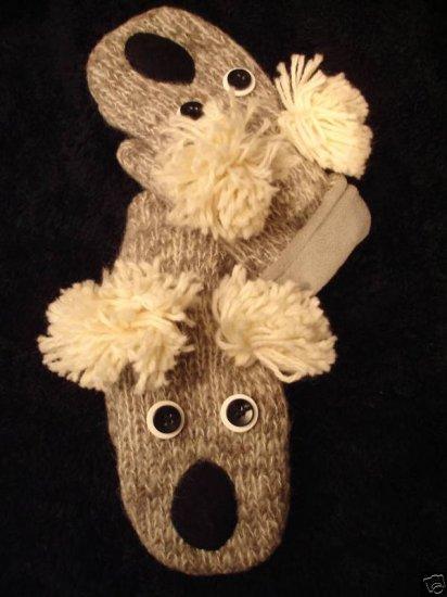 "KOALA MITTENS knit ADULT Lined BEAR gray puppet driving gloves Costume 10"""