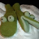 FROG MITTENS mitts ADULT puppet GREEN Knit Wool FLEECE LINED mitts Costume