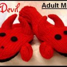 RED DEVIL Evil Sock Monkey Knit MITTENS puppet MENS womens FLEECE Lined Halloween Costume