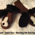 DOG SHAPED MITTENS knit COSTUME puppet ADULT Lined Floppy Brown Dog Black Ears White muzzle