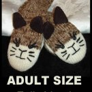 Stitch KITTY CAT MITTENS knit WHISKERS sock face puppet ADULT Fleece Lined brown
