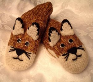 MOUNTAIN LION MITTENS knit ADULT Puma Wildcat Cougar COUGARS delux Halloween Costume Cat & MOUNTAIN LION MITTENS knit ADULT Puma Wildcat Cougar COUGARS delux ...