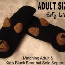 BLACK BEAR MITTENS knit ADULT Grizzly bears Grizzlies MENS WOMENS puppet delux Halloween Costume