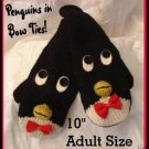 PENGUIN Knit MITTENS fleece lined PUPPET Bowtie ADULT black tie Halloween Costume HOCKEY