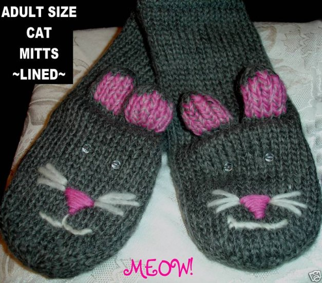 CAT MITTENS Gray Knit Kitty Face ADULT puppet grey Fleece Lined driving gloves Costume Knitwits