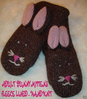 BROWN RABBIT MITTENS knit Fleece Lined ADULT ladies bunny puppet stitch face Halloween Costume