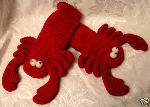 RED LOBSTER MITTENS Fleece Lined ADULT puppet knit Halloween Costume