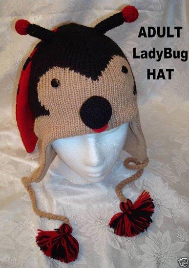LADYBUG HAT Knit SKI CAP Halloween Costume ADULT lady bug insect FLEECE LINED