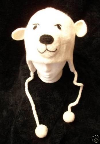 Spirit POLAR BEAR HAT knit ski cap QUALITY animal Peewee COSTUME Adult ear FLEECE LINED delux