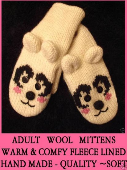 white POLAR BEAR Mittens LINED Knit ADULT pink cheeks Costume smiling delux happy puppets