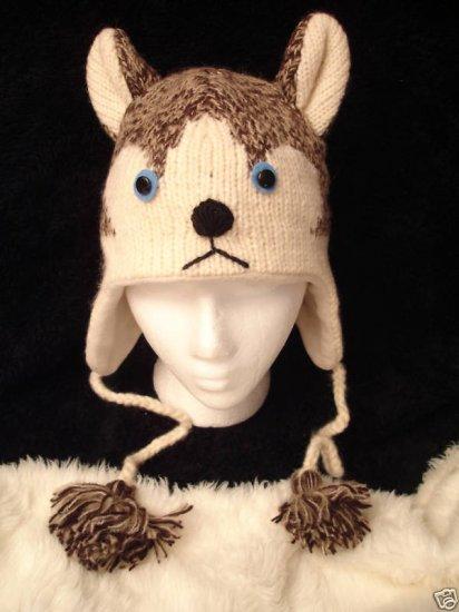 SIBERIAN HUSKY HAT size ADULT knit ski cap DOG TEAM sled Halloween costume huskies