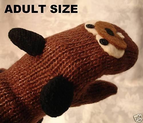 BEAVER MITTENS fleece Lined Wool mits Hand puppet Adult Badger woodchuck animal Costume