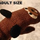 BEAVER MITTENS fleece Lined Wool mits Hand puppet Adult Badger woodchuck animal Costume