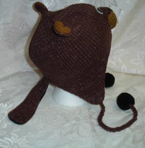 a305fae10c8 KNIT BEAVER HAT brown toque animal Costume bucktooth buck teeth black  FLEECE LINED Adult poms tail