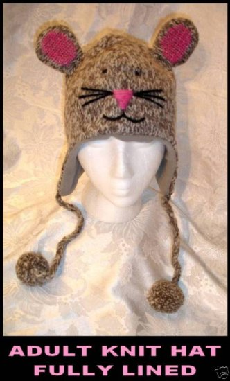 MOUSE HAT knit ski cap ADULT Fleece Lined Gray grey cap toque whiskers face Halloween Costume