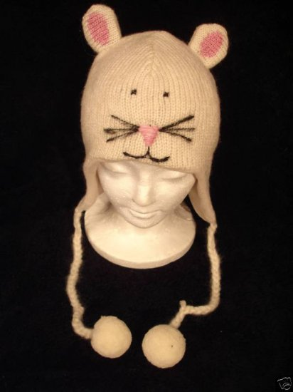 WHITE MOUSE HAT knit ski cap ADULT Fleece Lined animal toque beanie Halloween Costume poms