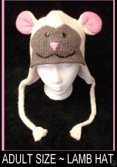 LAMB HAT knit ski cap animal Halloween Costume Sheep ADULT beanie Pom Tail toque