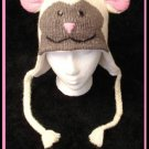 LAMB HAT knit ski cap animal Halloween Costume Sheep ADULT beanie Pom Tail toque