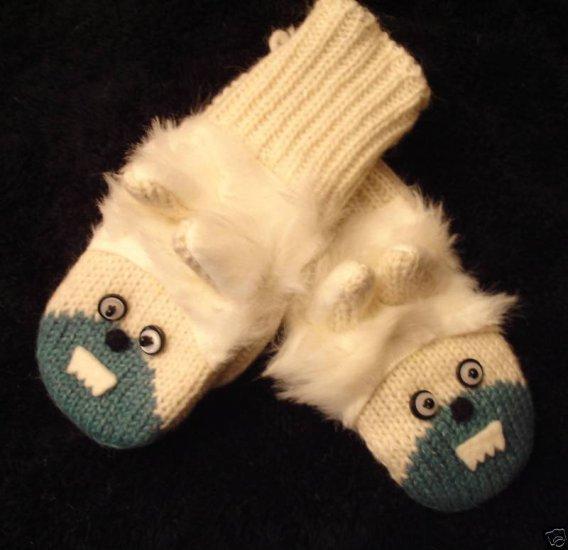 YETI MITTENS knit Adult Abominable SNOWMAN Sasquatch YETTI Mens Womens abdominal Costume