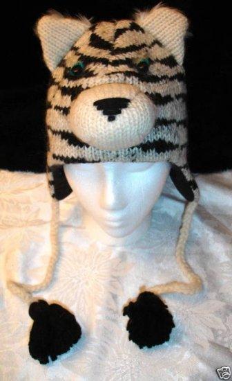 SIBERIAN TIGER HAT knit ski CAP ADULT  Fleece Lined pilot white animal toque HALLOWEEN COSTUME