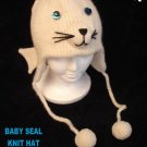 WHITE SEAL HAT Knit SKI CAP Blue Eyes ADULT baby white animal Halloween Costume