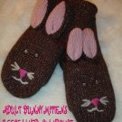 BUNNY RABBIT MITTENS knit Fleece Lined ADULT Brown Bunny Mitts ladies womens mens