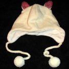WHITE CAT HAT knit ski cap Fleece Lined Winter furries EMO punk animal Costume beanie