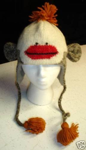 SOLD OUT - SOCK MONKEY HAT knit ski cap ADULT fleece lined BEANIE hot red lips PETUNIA