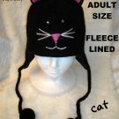 BLACK KITTY CAT HAT knit ski cap FACE stitch Halloween Costume ADULT SIZE Fleece Lined