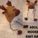 MOOSE HAT knit ski cap ADULT Antlers ELK Lined FLEECE animal Costume Thidwick bullwinkle