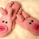 CURLY TAIL Pig Mittens Adult size UNISEX Fleece Lined Soft & Comfy mitts animal Costume Puppets