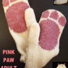 WHITE CAT MITTENS Lined mitts PINK PAWS wool knit ADULT animal puppet mitts pads kitty