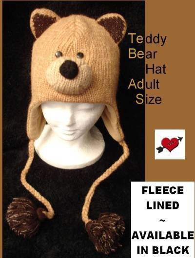 BROWN Teddy BEAR HAT knit ADULT Fleece LINED ski cap animal costume