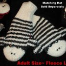 Black White Stripe SOCK MONKEY MITTENS knit mitts ADULT puppet deluxe